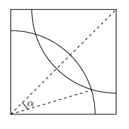 A square with two arcs drawn from opposite corners, overlappin in the middle. The angle between the line joining the corners and the point where the arcs cross is labelled alpha