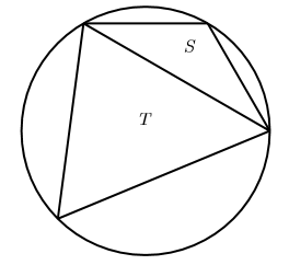 A circle inscribed with two triangles S and T joined by one edge together forming a quadrilateral.