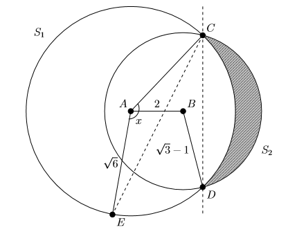 Two overlapping circles S sub 1 (larger) and S sub 2 (smaller). S sub one has centre A, and S sub two has centre B. Lines join A to points C and D, where S sub two meets S sub one. The area inside S sub 2 and outside S sub 1 is shaded.