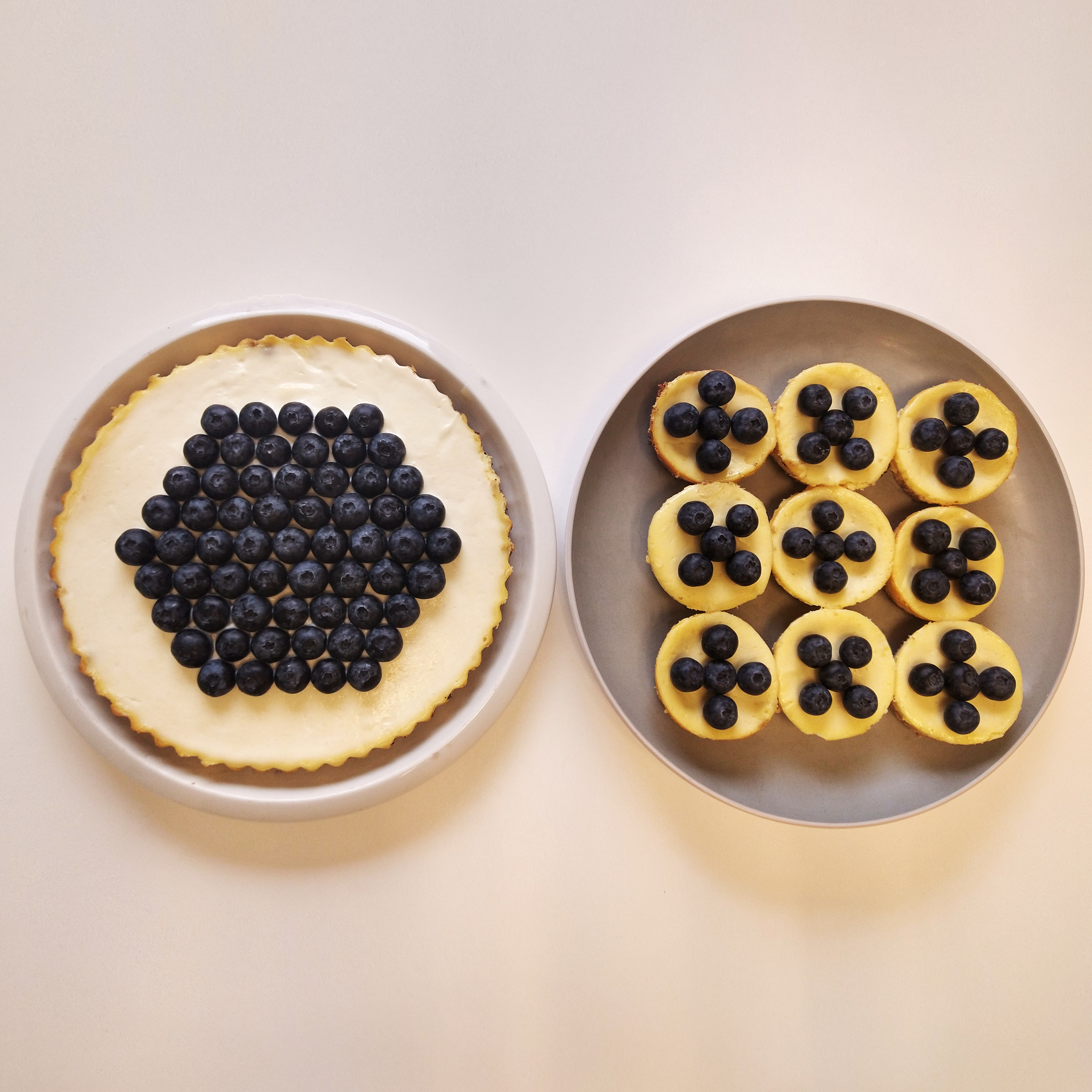 Cheesecakes packed with blueberries.