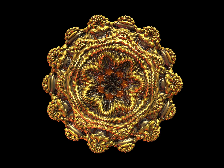 A 3D rendering of the Mandelbrot set - called a Mandelbulb