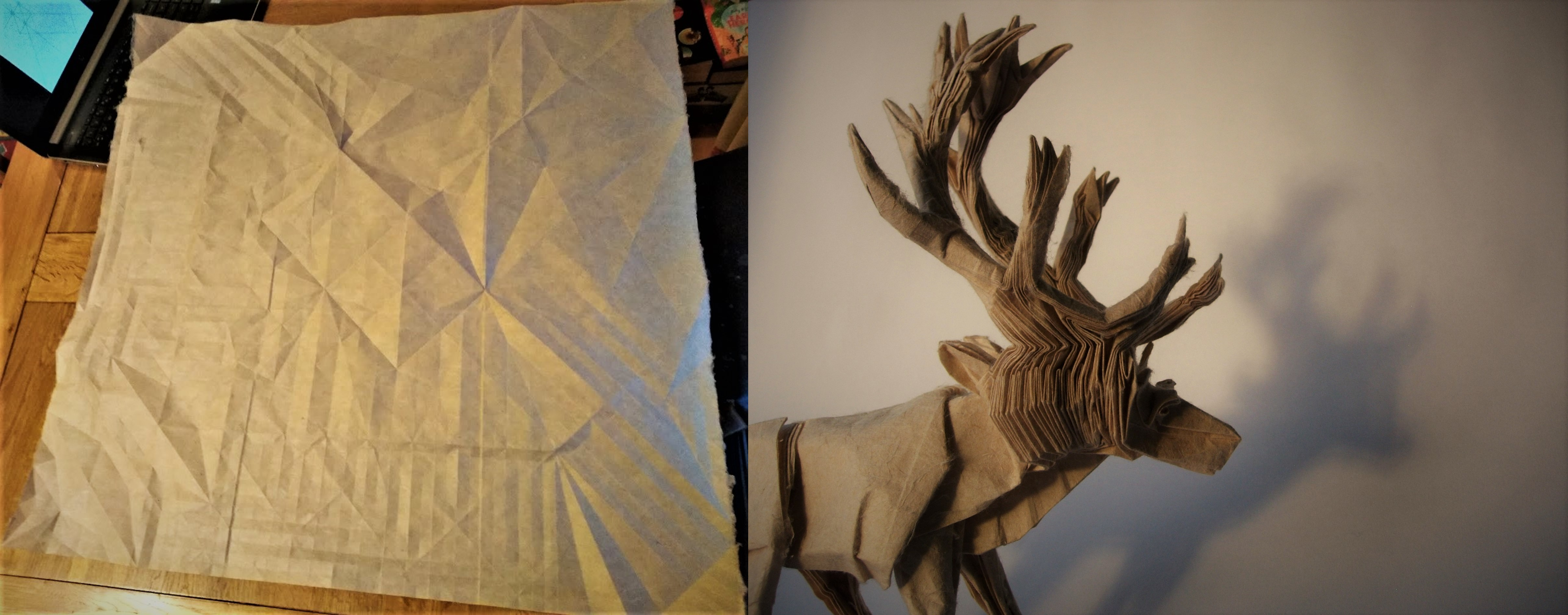A paper reindeer folded from crease pattern.