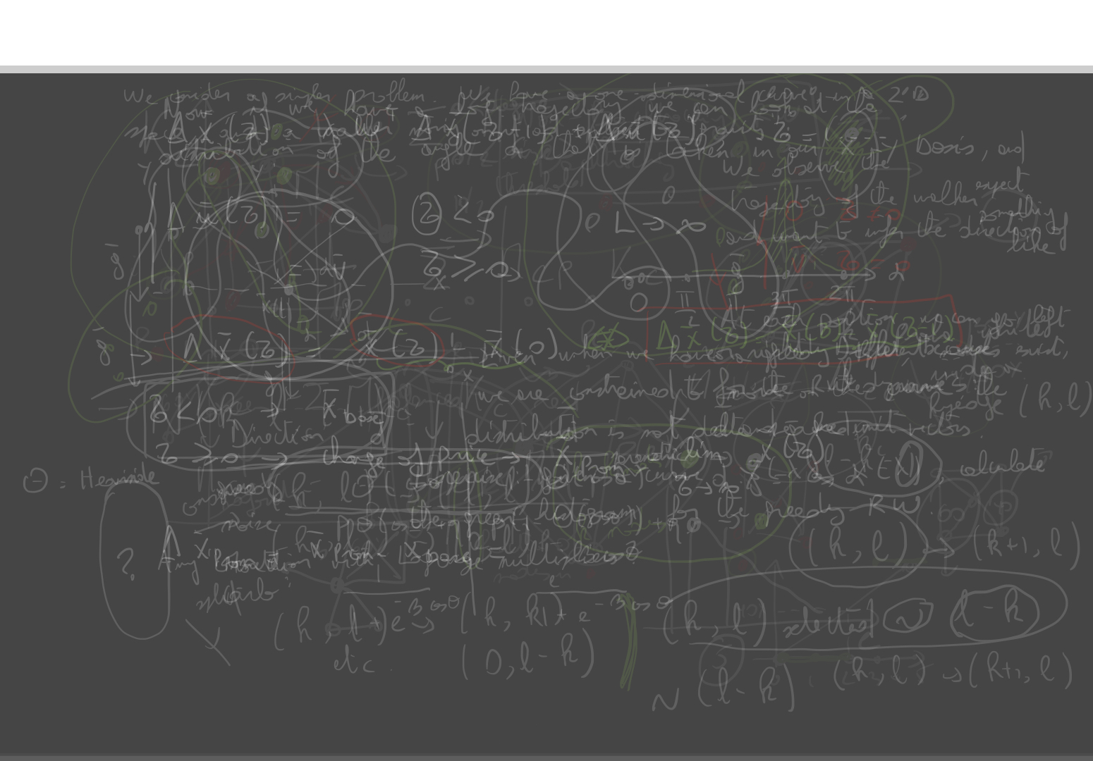 A blackboard with multiple layers of work overlaid.