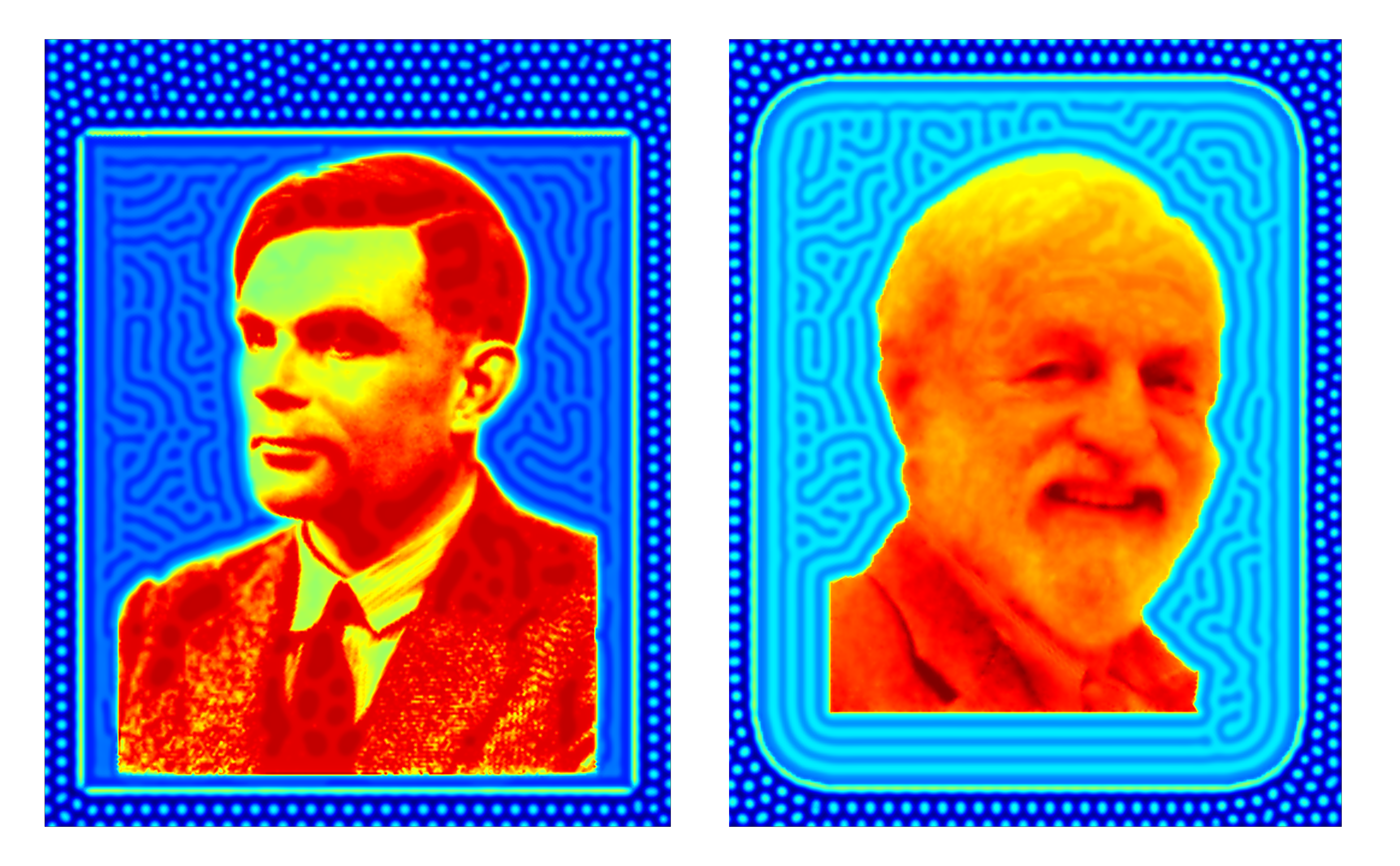 Faces of Alan Turing and James Murray created using Turing patterns