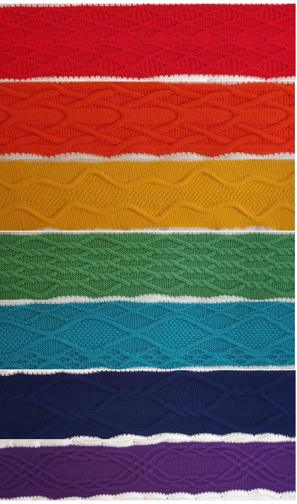 Knitted scarves in rainbow colours illustrating the seven possible types of symmetry patterns in frieze groups.
