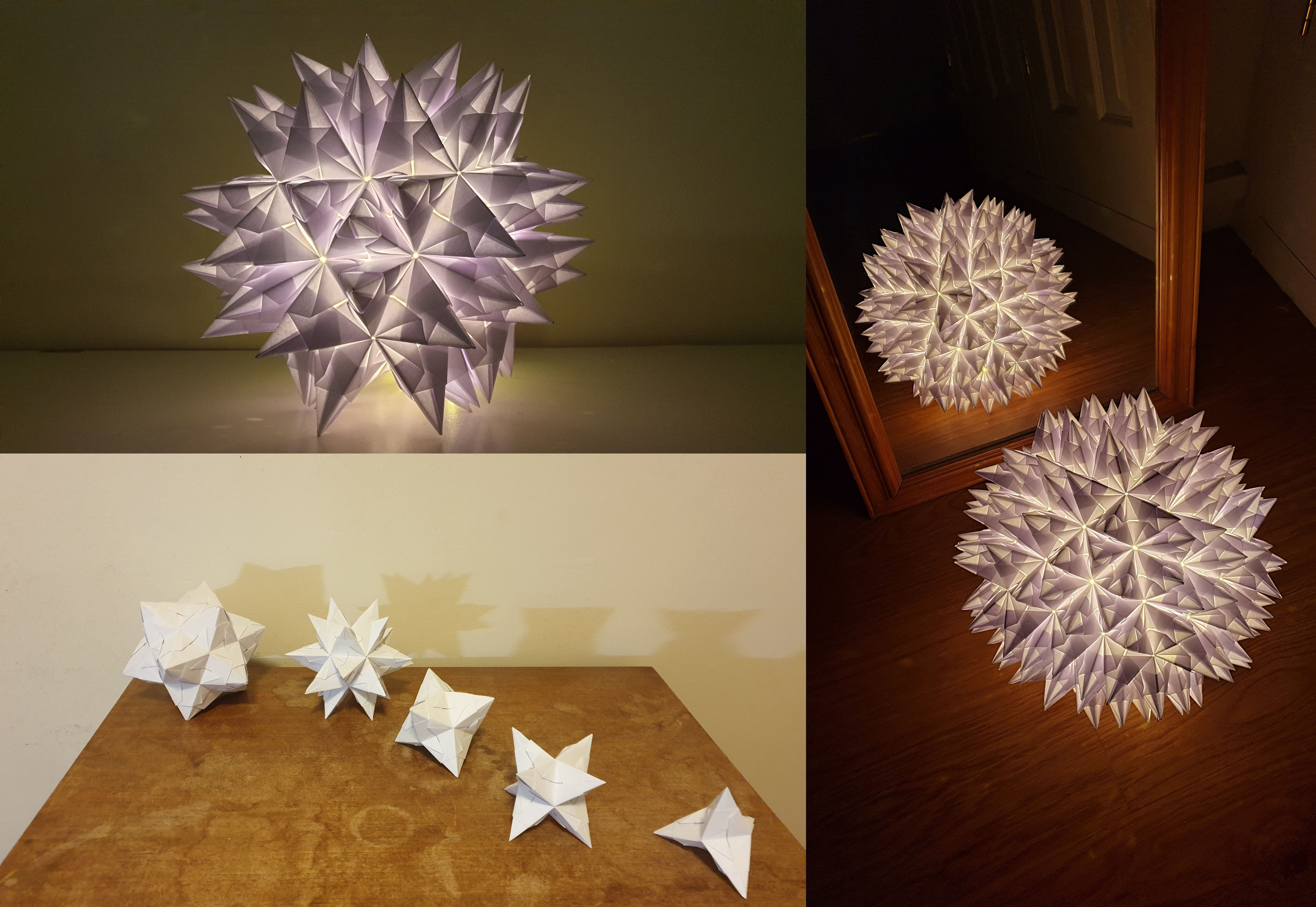 Image showing different models of a bascetta star starting from different platonic solid bases.
