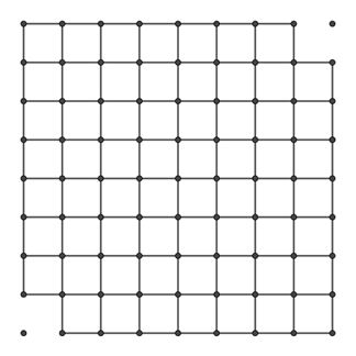 An 8 by 8 grid of squares with two opposite corner squares removed