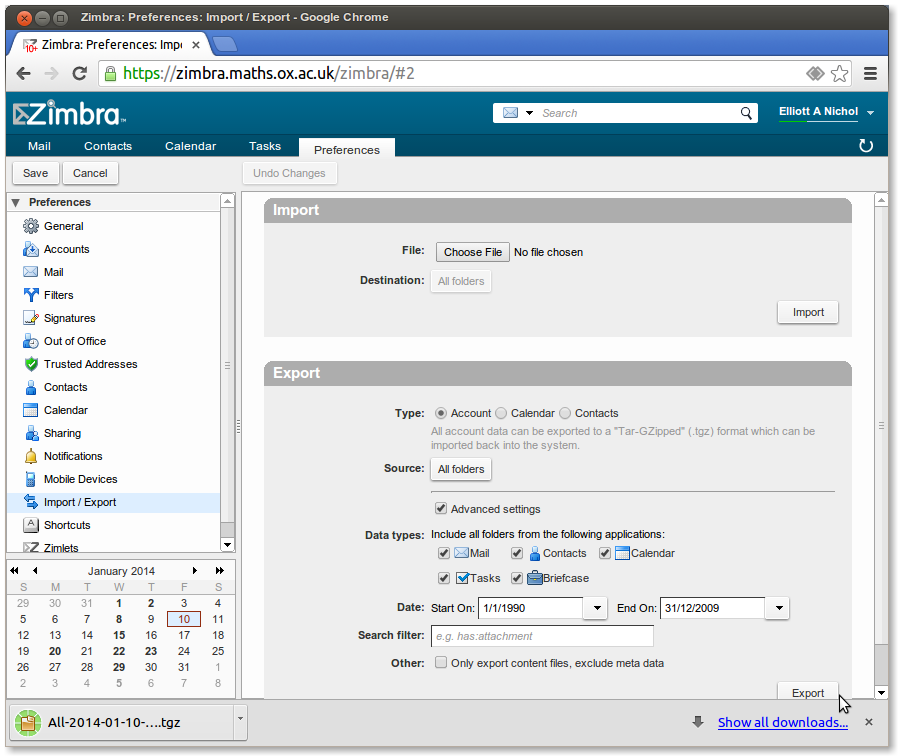 Exporting, Archiving and Importing with Zimbra