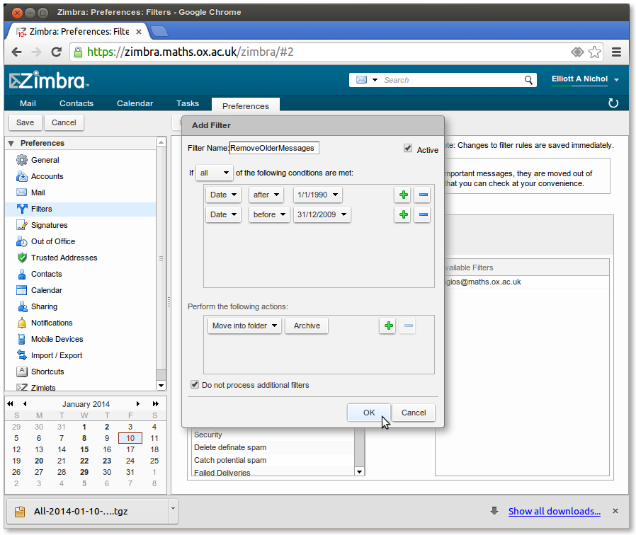 Exporting, Archiving and Importing with Zimbra | Mathematical Institute