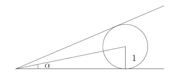 The first circle is tangent to both lines. The radius to the x-axis is labelled 1, and the line from the centre of the circle to the origin is drawn, making an angle alpha with the x-axis at the origin.