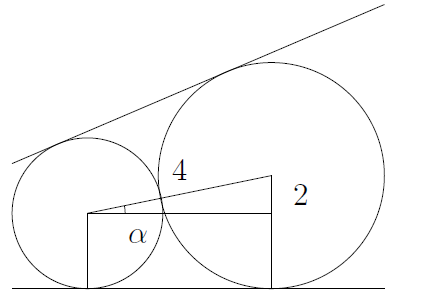Two circles are tangent to two lines. The line between the centres is shown (it goes through the point of tangency). A horizontal line from the centre of the smaller circle is shown. These form a triangle with part of the radius of the larger circle.