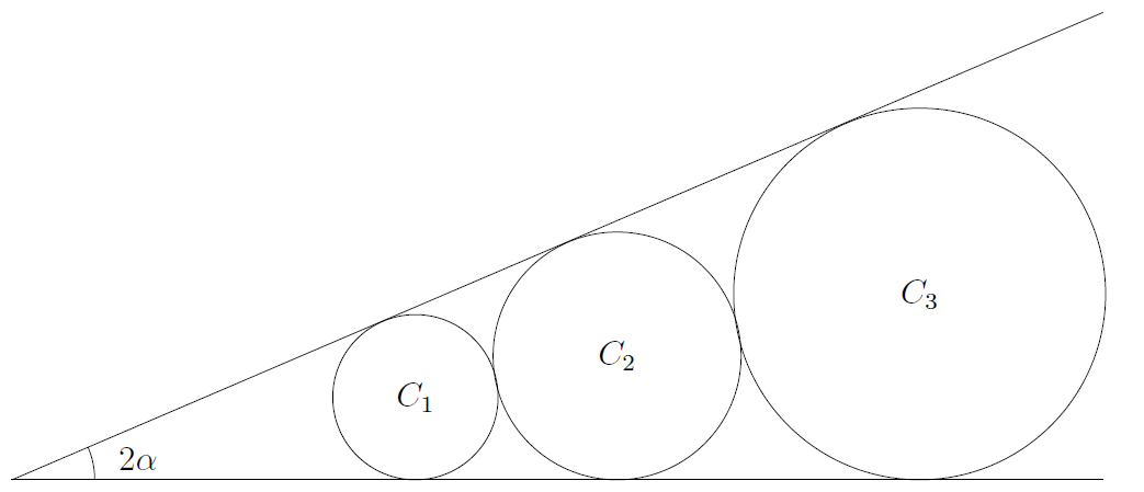 Three circles in a row are tangent to each other. They all sit on a horizontal line, and there's a diagonal line that's tangent to all three circles. The angle between the two lines is 2 times alpha