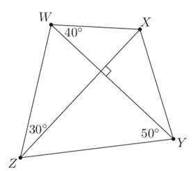 Quadrilateral with perpendicular diagonals, and three angles marked as in the text.
