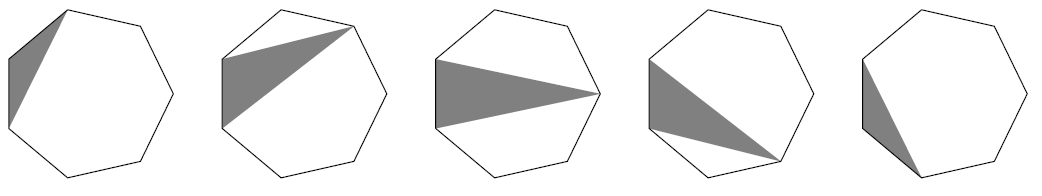 Five heptagons. Each contains a grey triangle which shares a side with the heptagon (always the same side). The other corner of the triangle is one of the other five corners in each case, working around the heptagon in the five cases.